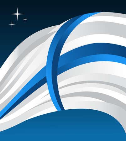 libbenő: Finnország zászló illusztráció csapkodó kék alapon. Illusztráció