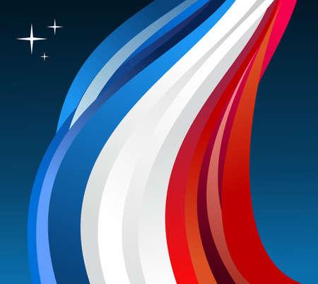 france flag: France flag illustration fluttering on blue background.  Illustration