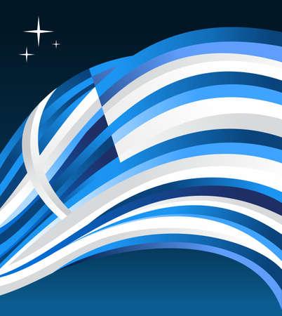 fluttering: Greece flag illustration fluttering on a gray background.