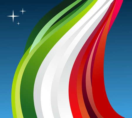 bandera mexico: M�xico ilustraci�n bandera ondeando sobre fondo azul. Vectores