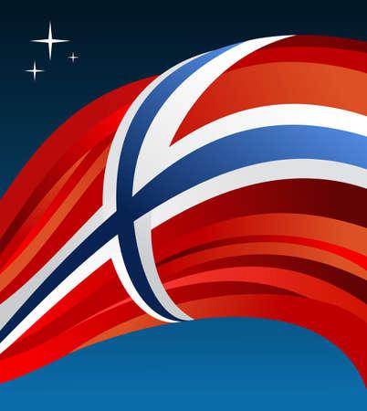 Norway flag illustration fluttering over blue background.  Vector