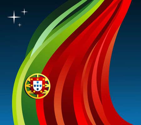 portugal flag: Portugal flag illustration fluttering on blue background.