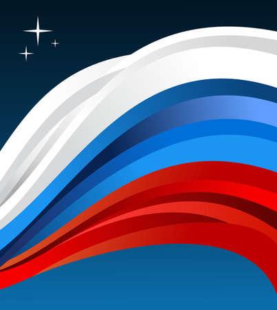 bandera rusia: Ilustración Bandera de Rusia revoloteando sobre fondo azul.