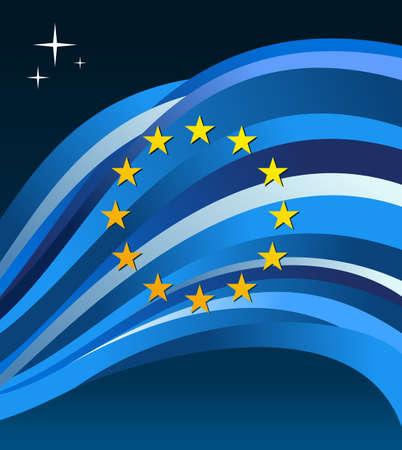 European&nbsp,Union flag illustration fluttering on a gray background.