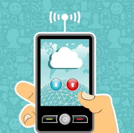 hand holding phone: Hand holding a cell phone with cloud of communication on blue background with social media icons.