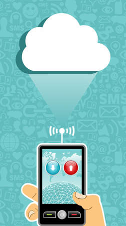 Hand holding a cell phone under one cloud on blue background with social media icons.   Vector