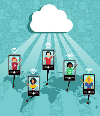 Cloud computing social team under cloud with cell phone connection on blue background.   Vector