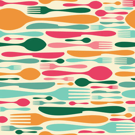 Cutlery icon seamless pattern background. Fork, knife and spoon silhouettes on different sizes and colors Vector
