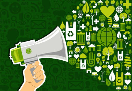 Hand holding a megaphone promotel eco friendly icons over green background. Vector