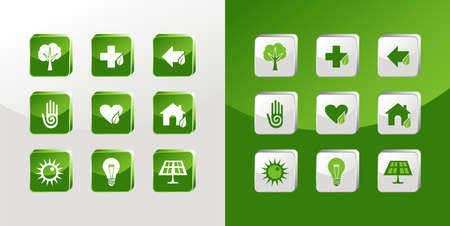 Environment icons glass set over light and dark background.  Vector