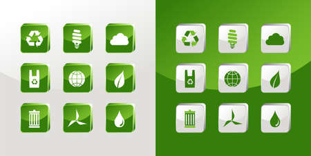 Environment icons glass set over light and dark background. Stock Vector - 11290592