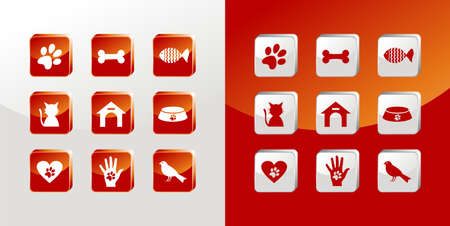 Pet care icons glass set over light and dark background.
