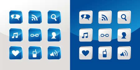 Social media icons glass set over light and dark background.  Vector