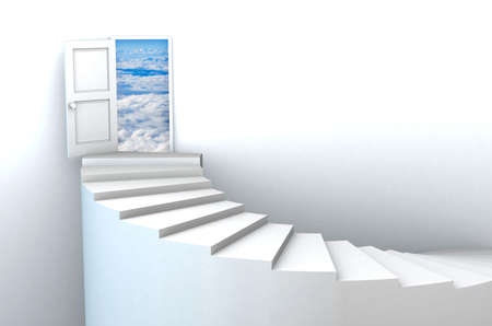 Stairs to heavens door illustration. Included clipping path in the door, so you can easily cut it out and place your own design. illustration