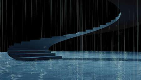 3d success Stairs composition under rain. photo