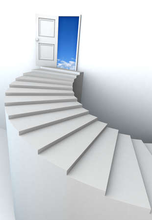 Open door to business success with 3d stairs. Included clipping path in the door, so you can easily cut it out and place your own subject. photo