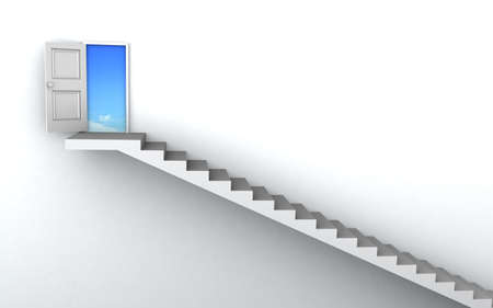Open door to business success with 3d stairs. photo