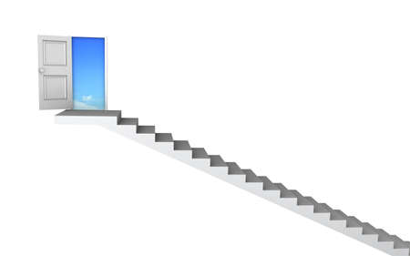 Open door to business success with 3d stairs. Included clipping path, so you can easily cut it out and place your own subject. Stock Photo - 11496060