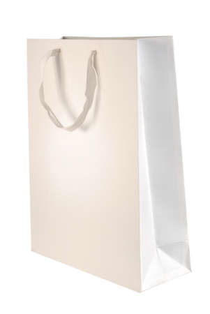 Paper bag template isolated on white background. Included clipping path, so you can easily cut it out and place over the top of a design. photo