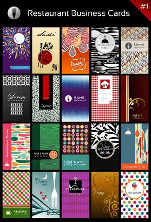 gastronomy: 20 business cards for restaurant for differents styles. Vector available