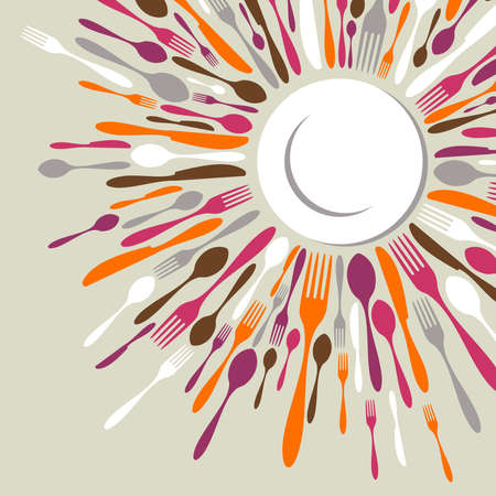 Restaurant menu background. Fork, knife and spoon silhouettes on different sizes and colors around white dish. photo