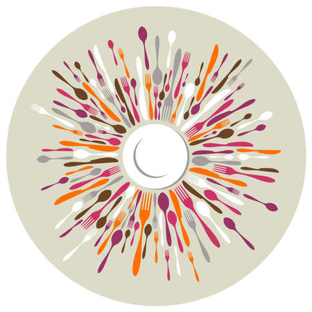 Circle restaurant background. Fork, knife and spoon silhouettes on different sizes and colors around white dish.  photo