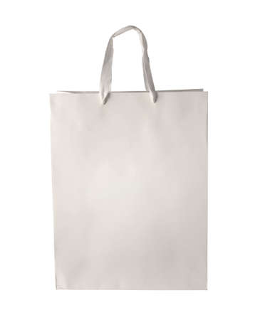 Cardboard shopping bag template isolated on white background.  photo