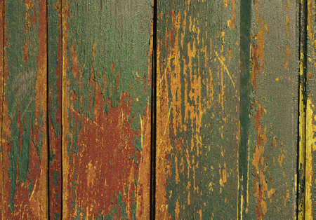 Vintage wooden texture with grunge paint close up. Useful as background for design works. photo
