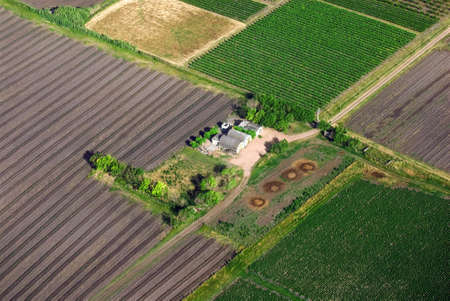 Aerial view of green countryhouse in Uruguay.  photo