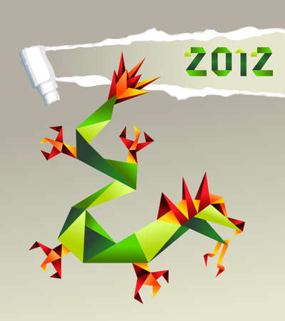 Single colorful China origami dragon with 2012 year on gray background.  Vector file available. Vector