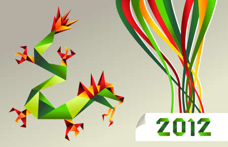 Single colorful China origami dragon with 2012 year on gray background.   Vector