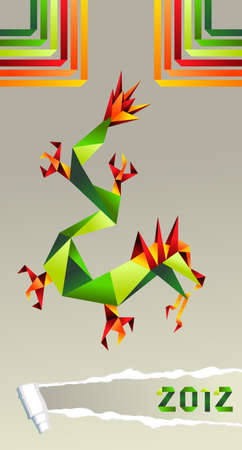 Colorful Chinese origami dragon with 2012 year and strips background. Vector file available. Vector