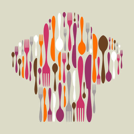 Chef hat shape made of cutlery icons. Multicolored fork, knife and spoon silhouettes. Vector available Vector