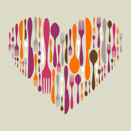 dinner party: Multicolored cutlery icon set in heart shape. Fork, knife and spoon silhouettes. Vector available