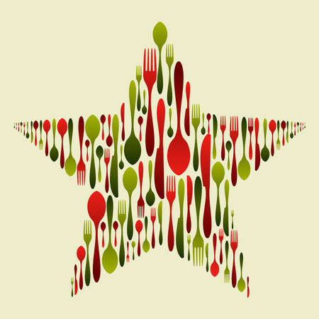 christmas dinner party: Christmas star with multicolored cutlery set. Fork, spoon and knife pattern forming a star. Usable as invitation card. Vector file available.