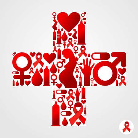 sexualidad: Adem�s s�mbolo silueta hecha con el SIDA conjunto iconos. Vectores