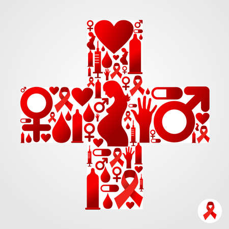 aids: Plus symbol silhouette made with AIDS icons set.  Illustration