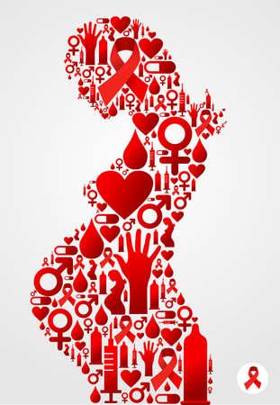 Symbole femme enceinte fait avec le sida icônes ensemble.