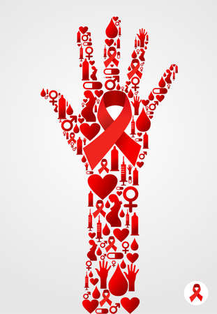 Hand silhouette made with AIDS icons set. Vector