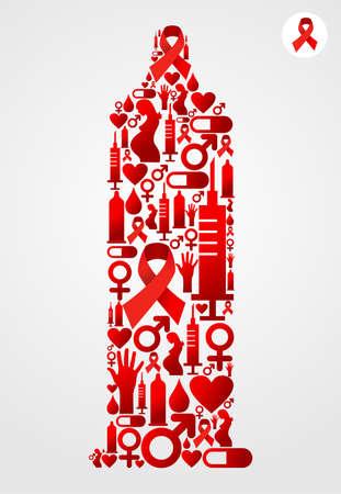 sexualidad: La silueta del preservativo hecho con iconos de SIDA establecido.