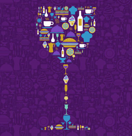 Wine glass shape made with food and beverage icon set over violet background.  Vector