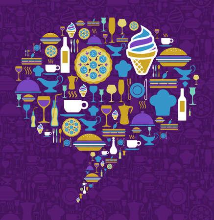Forma de burbuja de diálogo hecho con iconos de gourmet en un fondo violeta.