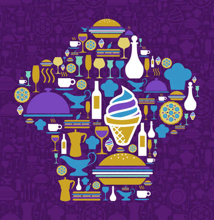 straw hat: Chef hat shape made with gourmet icon set on violet background.  Illustration