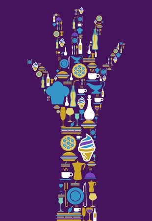 hot plate: Forma de la mano humana hecha con el icono gastron�mico situado en el fondo violeta. Vectores