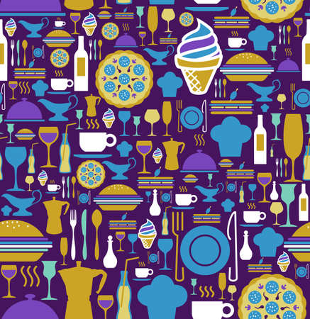 Block colors gourmet icon set seamless pattern background.  Vector