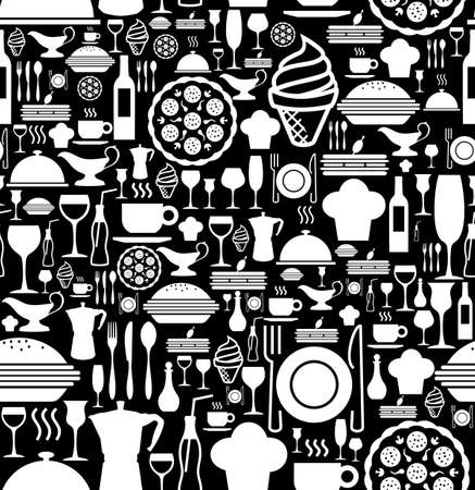 Black and white gourmet icon set seamless pattern background.  Vector