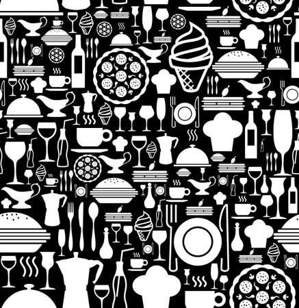 gourmet dinner: Black and white gourmet icon set seamless pattern background.  Illustration