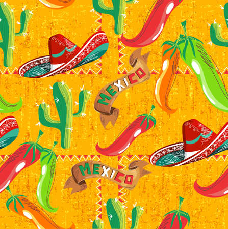 Mexican pattern with cactus, hat, colors chilli, and Mexico ribbon illustration over grunge background. Useful for menu design. Vector