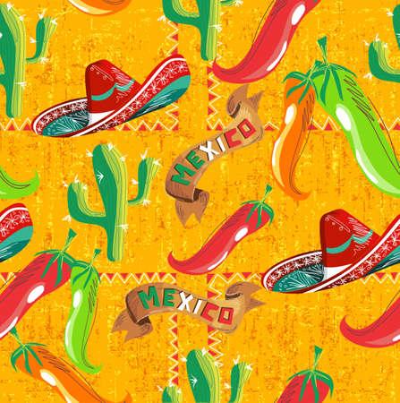 mexican sombrero: Modello messicano con cactus, cappello, peperoncino colori, e il Messico illustrazione nastro su sfondo grunge. Utile per la progettazione di menu.