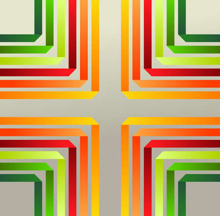 Origami ribbons pattern on gray background. Vector